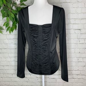 Carmen Marc Valvo Black Ruched Long Sleeve Blouse